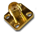 SMA 4 hole panel mount jack with solder post termination 26.5 GHz