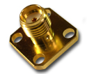 SMA 4 hole panel mount plug with solder post  Connector