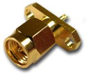 SMA 2 hole panel mount plug with solder cup  Connector