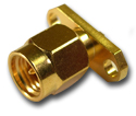 SMA 2 hole panel mount plug with solder post  Connector