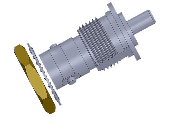 BNC isolated bulkhead crimp jack Connector