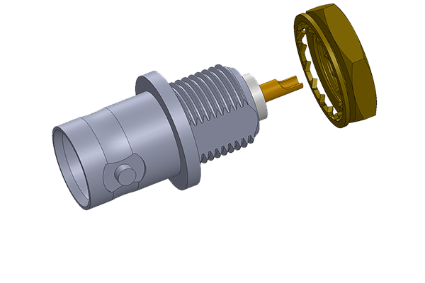BNC front mount bulkhead jack with solder cup termination Connector