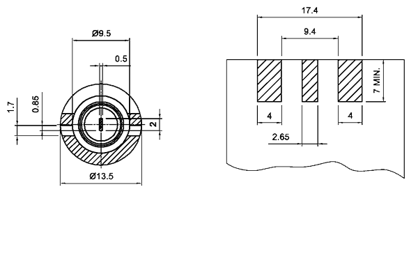 f straight end launch jack pcb Connector