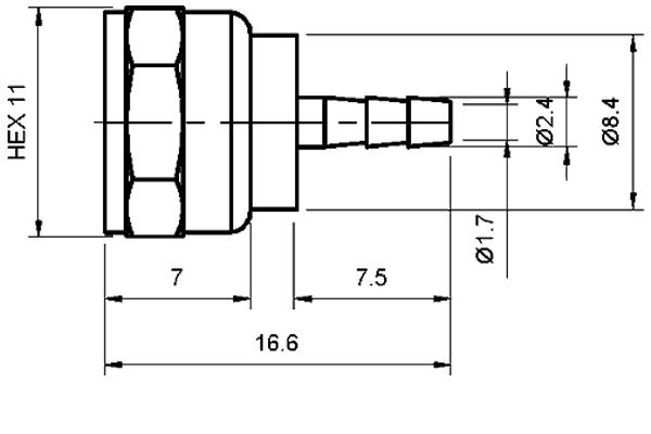 f straight 3 piece crimp plug Connector