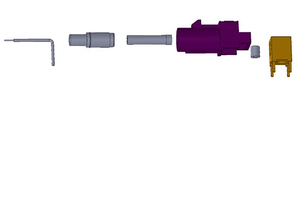 fakra D Code RA Jack PCB Solder Post PCB Through Hole pcb Connector