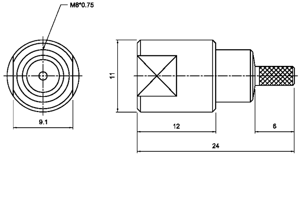 fme straight crimp plug Connector