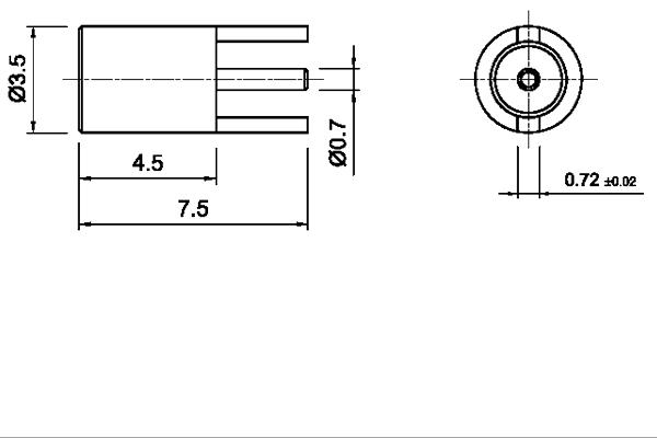 MMCX vertical thru hole jack 2 legs pcb Connector