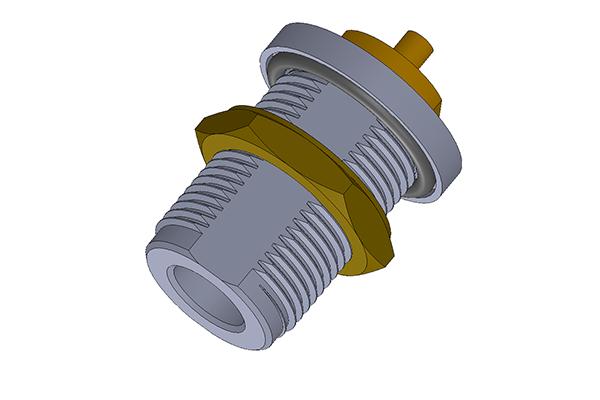 N bulkhead rear mount solder jack