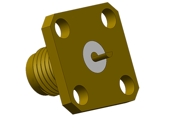 sma 4 hole panel mount jack with half round terminal pcb Connector