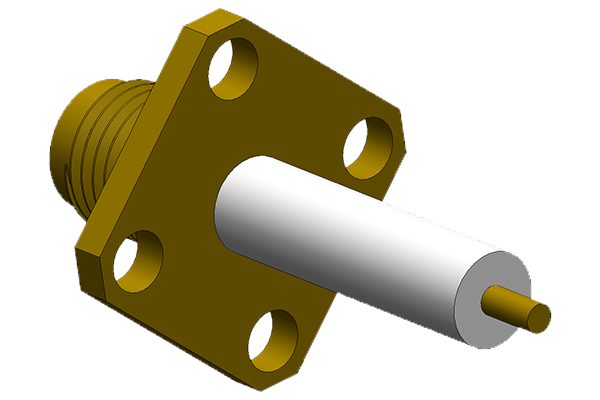 sma 4 hole panel mount jack with extended dielectric and solder post terminal pcb Connector