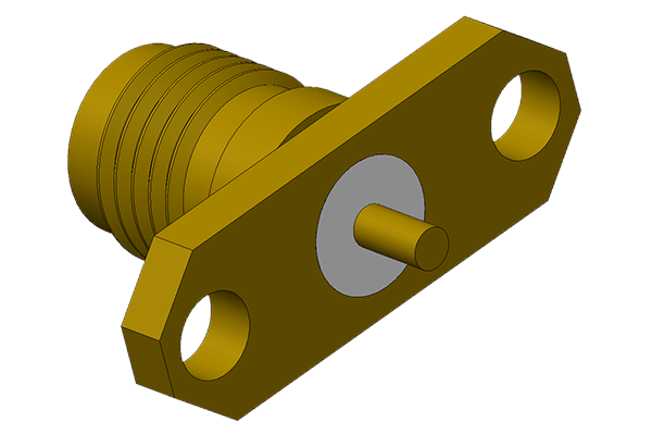 sma 2 hole panel mount jack with solder post termination 26.5 GHZ pcb Connector