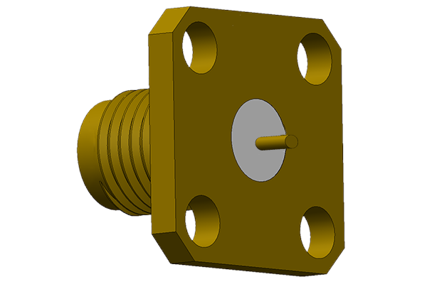 SMA 4 hole panel mount jack with solder post termination 26.5 GHz  Connector