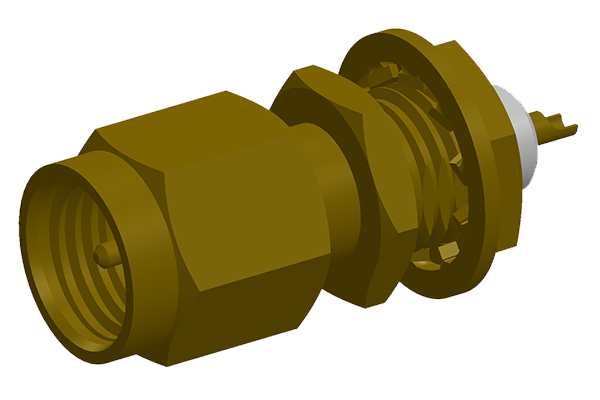 SMA front mount bulkhead plug with solder cup