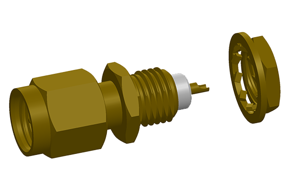 sma front mount bulkhead plug with solder cup pcb Connector