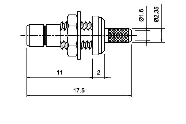 smb straight rear mount bulkhead crimp jack Connector